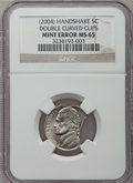 Errors, 2004 5C Jefferson Nickel, Peace Medal -- Double Curved Clips --MS65 NGC....