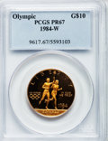 1984-W G$10 Olympic Gold Ten Dollar PR67 Deep Cameo PCGS. PCGS Population (102/7809). NGC Census: (30/5491). Mintage: 38...