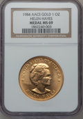 Medals And Tokens, 1984 American Arts Commemorative Series, Helen Hayes One Ounce Gold Medal MS69 NGC....