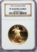 Modern Bullion Coins: , 1991-W G$50 One-Ounce Gold Eagle PR70 Ultra Cameo NGC. NGC Census:(669). PCGS Population (91). Mintage: 50,411. Numismedia...