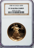 Modern Bullion Coins: , 1989-W G$50 One-Ounce Gold Eagle PR70 Ultra Cameo NGC. NGC Census:(754). PCGS Population (288). Mintage: 54,570. Numismedi...