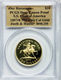 "S.S.C.A. Relic Gold Medals, 1857/0 $10 SSCA Relic Gold Medal ""1857/0 Baldwin & Co.Ten"" Deep Cameo Proof Ultra Cameo NGC. 49er Hors..."
