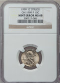 Errors, 1999 1C Lincoln Cent -- Struck on a 1999-P 10C -- MS68 NGC....