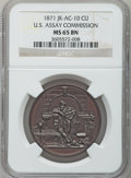 Assay Medals, 1871 U.S. Assay Medal, Copper MS65 Brown NGC. JK-AC-10....