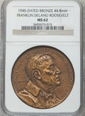 U.S. Presidents & Statesmen, 1945 Franklin Delano Roosevelt Inauguration Medal MS62 NGC. Bronze,44.8mm....