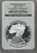 Modern Bullion Coins, 2006-W $1 20th Anniversary Silver Eagle Set NGC. The set Includes:2006-W MS69 NGC; 2006-P Reverse PR69 NGC and a 200... (Total: 3coins)