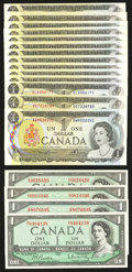 Canadian Currency: , $1 1954 and $1 1973 Notes. . ... (Total: 19 notes)