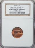 Errors, 1984 1C Lincoln Cent -- Reverse Die Break -- MS64 Red and BrownNGC....