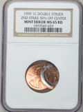Errors, 1999 1C Lincoln Cent -- Double Struck, Second Strike 50% Off Center-- MS65 Red NGC....