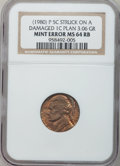 Errors, (1980)-P 5C Jefferson Nickel -- Struck on a Damaged 1C Planchet --MS64 Red and Brown NGC. 3.06 grams....