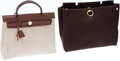Luxury Accessories:Bags, Hermes Chocolate Leather and Toile Herbag MM Shoulder Bag. ...