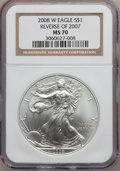 Modern Bullion Coins, 2008-W $1 Silver Eagle, Reverse Of 2007 MS70 NGC. NGC Census: (0).PCGS Population (194)....