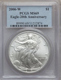 Modern Bullion Coins, 2006 $1 20th Anniversary Silver Eagle Set PCGS. The set includes:2006-W MS69 PCGS, 2006-P Reverse Proof PR69 PCGS and ... (Total: 3coins)