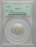 California Fractional Gold: , 1854 25C Liberty Octagonal 25 Cents, BG-105, R.3, MS63 PCGS. PCGSPopulation (49/98). NGC Census: (13/17). ...