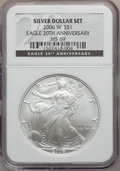 Modern Bullion Coins, 2006 $1 20th Anniversary Silver Eagle Set NGC. The set includes:2006-W MS69 NGC, 2006-P Reverse Proof PR69 NGC and a ... (Total: 3coins)