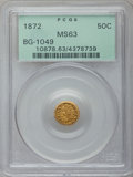 California Fractional Gold: , 1872 50C Indian Round 50 Cents, BG-1049, R.4, MS63 PCGS. PCGSPopulation (31/26). NGC Census: (0/4). ...