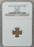 California Fractional Gold: , 1867 50C Liberty Round 50 Cents, BG-1018, High R.4, AU55 NGC. NGCCensus: (1/5). PCGS Population (7/53). ...