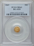 California Fractional Gold: , 1869 50C Liberty Round 50 Cents, BG-1020, Low R.4, MS63 PCGS. PCGSPopulation (11/2). NGC Census: (1/0). ...