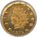 California Fractional Gold: , 1875/3 50C Indian Round 50 Cents, BG-1058, R.3, MS65 PCGS. PCGSPopulation (4/0). ...