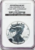 Modern Bullion Coins, 2006-P $1 Reverse Proof Silver Eagle, 20th Anniversary PR70 NGC.NGC Census: (9957). PCGS Population (1795). Numismedia Ws...