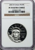 Modern Bullion Coins, 2003-W P$100 One-Ounce Platinum Eagle PR70 Ultra Cameo NGC. NGCCensus: (287). PCGS Population (95). Numismedia Wsl. Price...