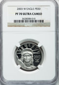 Modern Bullion Coins, 2003-W P$50 Half-Ounce Platinum Eagle PR70 Ultra Cameo NGC. NGCCensus: (360). PCGS Population (134). Numismedia Wsl. Pric...
