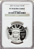 Modern Bullion Coins, 2007-W $100 One-Ounce Platinum Eagle PR70 Ultra Cameo NGC. NGCCensus: (467). PCGS Population (176). Numismedia Wsl. Price...