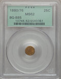California Fractional Gold: , 1880/76 25C Indian Round 25 Cents, BG-885, R.3, MS62 PCGS. PCGSPopulation (31/137). NGC Census: (5/18). ...