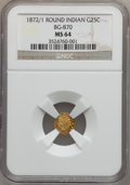 California Fractional Gold: , 1872/1 25C Indian Round 25 Cents, BG-870, R.3, MS64 NGC. NGCCensus: (6/5). PCGS Population (72/18). ...