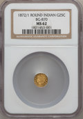 California Fractional Gold: , 1872/1 25C Indian Round 25 Cents, BG-870, R.3, MS62 NGC. NGCCensus: (10/15). PCGS Population (26/169). ...