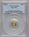 California Fractional Gold: , 1870 50C Liberty Octagonal 50 Cents, BG-908, R.5, MS64 PCGS. PCGSPopulation (12/17). NGC Census: (0/7). ...