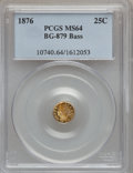 California Fractional Gold, 1876 25C Indian Round 25 Cents, BG-879, R.4, MS64 PCGS. Ex: Bass.PCGS Population (25/14). NGC Census: (1/1)....