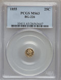 California Fractional Gold: , 1855 25C Liberty Round 25 Cents, BG-226, R.5, MS63 PCGS. PCGSPopulation (11/4). NGC Census: (1/0). ...