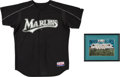 Baseball Collectibles:Uniforms, 2003 Armando Almanza BP Worn Florida Marlins Jersey & 1997 Team Signed Photo....