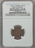 Errors, 1907 1C Indian Cent -- Struck on a Split Planchet, Before Strike2.09 Grams -- XF45 Brown NGC....