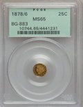 California Fractional Gold: , 1878/6 25C Indian Round 25 Cents, BG-883, High R.4, MS65 PCGS. PCGSPopulation (3/0). NGC Census: (2/0). ...
