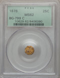 California Fractional Gold: , 1876 25C Indian Octagonal 25 Cents, BG-799C, High R.4, MS62 PCGS.PCGS Population (7/58). NGC Census: (0/1). ...