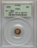 California Fractional Gold: , 1859 50C Liberty Round 50 Cents, BG-1002, High R.4, MS65 PCGS. PCGSPopulation (7/2). NGC Census: (5/0). ...