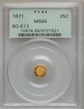 California Fractional Gold: , 1871 25C Liberty Round 25 Cents, BG-813, R.3, MS65 PCGS. PCGSPopulation (12/3). NGC Census: (3/0). ...