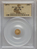 California Fractional Gold: , 1871 25C Liberty Round 25 Cents, BG-838, R.2, AU58 PCGS. PCGSPopulation (68/293). NGC Census: (11/54). ...