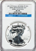 Modern Bullion Coins, 2011-P $1 25th Anniversary Reverse Proof Silver Eagle, EarlyReleases PR70 NGC. NGC Census: (16847). PCGS Population (8214)...