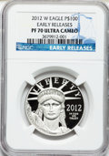 Modern Bullion Coins, 2012-W $100 One-Ounce Platinum Eagle, Early Releases PR70 UltraCameo NGC. NGC Census: (0). PCGS Population (3). Numismedi...