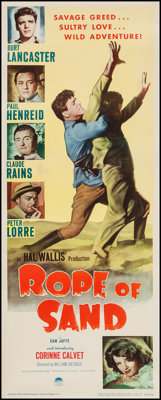 "Rope of Sand (Paramount, 1949). Insert (14"" X 36""). Adventure"
