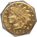 California Fractional Gold: , 1872 25C Indian Octagonal 25 Cents, BG-791, R.3, MS65 PCGS. PCGSPopulation (14/3). NGC Census: (10/1). ...
