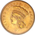 Three Dollar Gold Pieces, 1862 $3 MS62 PCGS Secure. CAC....