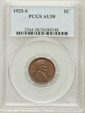 Lincoln Cents: , 1925-S 1C AU58 PCGS. PCGS Population (66/178). NGC Census:(28/316). Mintage: 26,380,000. Numismedia Wsl. Price for problem...