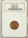 Indian Cents: , 1897 1C MS65 Red and Brown NGC. NGC Census: (190/20). PCGSPopulation (31/0). Mintage: 50,466,328. Numismedia Wsl. Price fo...