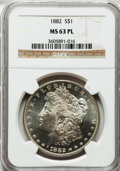 Morgan Dollars: , 1882 $1 MS63 Prooflike NGC. NGC Census: (85/111). PCGS Population(120/122). Numismedia Wsl. Price for problem free NGC/PC...