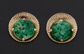 Estate Jewelry:Earrings, Vintage 14k Gold & Carved Jade Earrings. ...