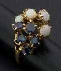 Estate Jewelry:Rings, Blue Sapphire & Opal Gold Ring. ...